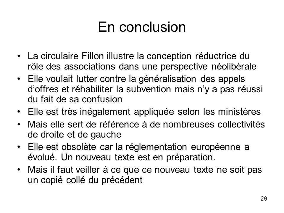 En conclusion La circulaire Fillon illustre la conception réductrice du rôle des associations dans une perspective néolibérale.