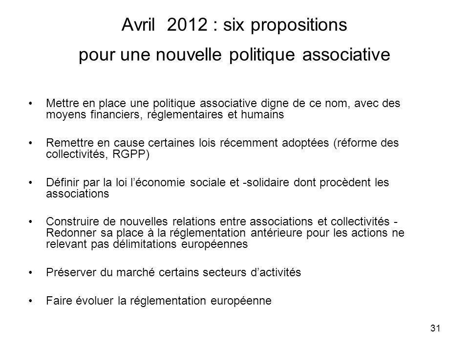 Avril 2012 : six propositions pour une nouvelle politique associative