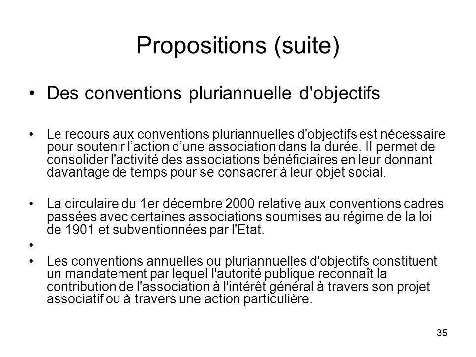 Propositions (suite) Des conventions pluriannuelle d objectifs