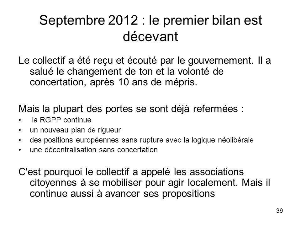 Septembre 2012 : le premier bilan est décevant