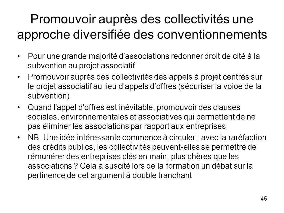 Promouvoir auprès des collectivités une approche diversifiée des conventionnements