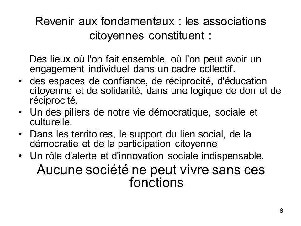 Revenir aux fondamentaux : les associations citoyennes constituent :