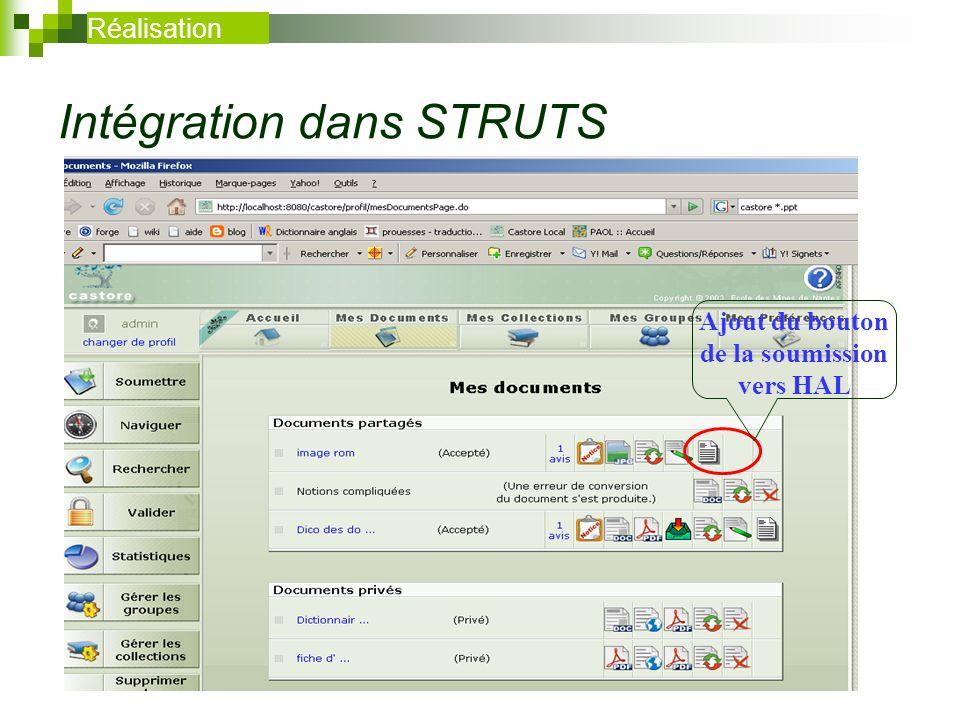 Intégration dans STRUTS