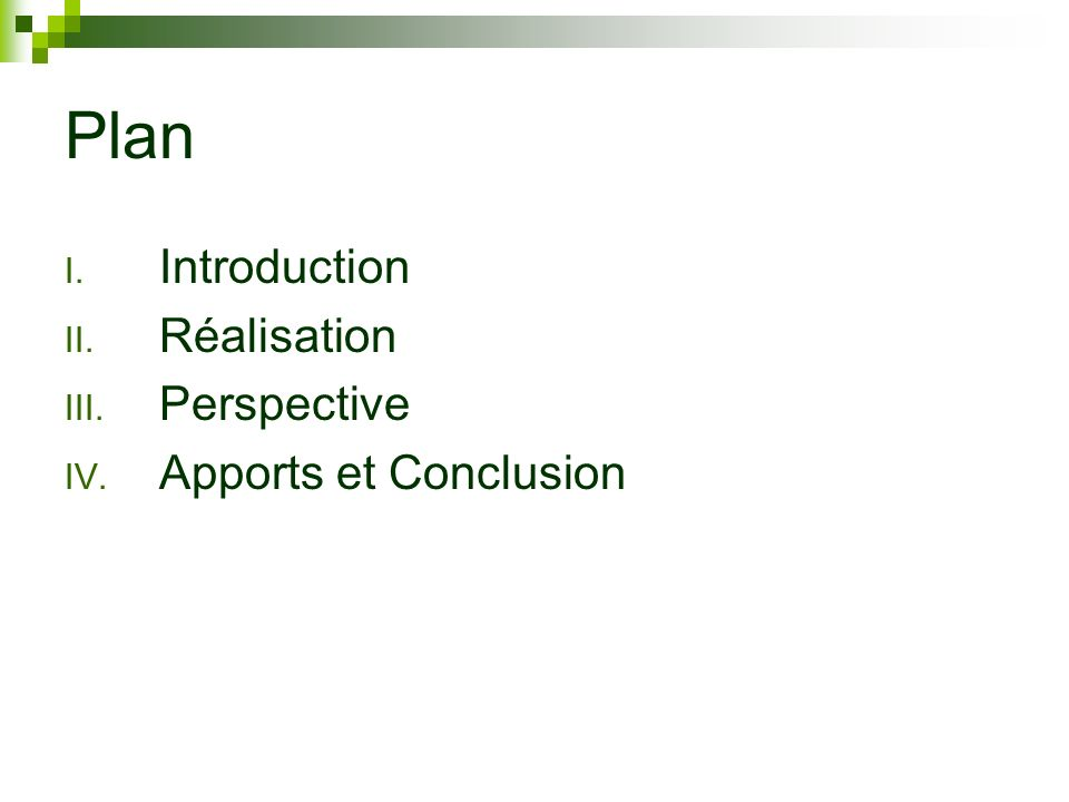 Plan Introduction Réalisation Perspective Apports et Conclusion