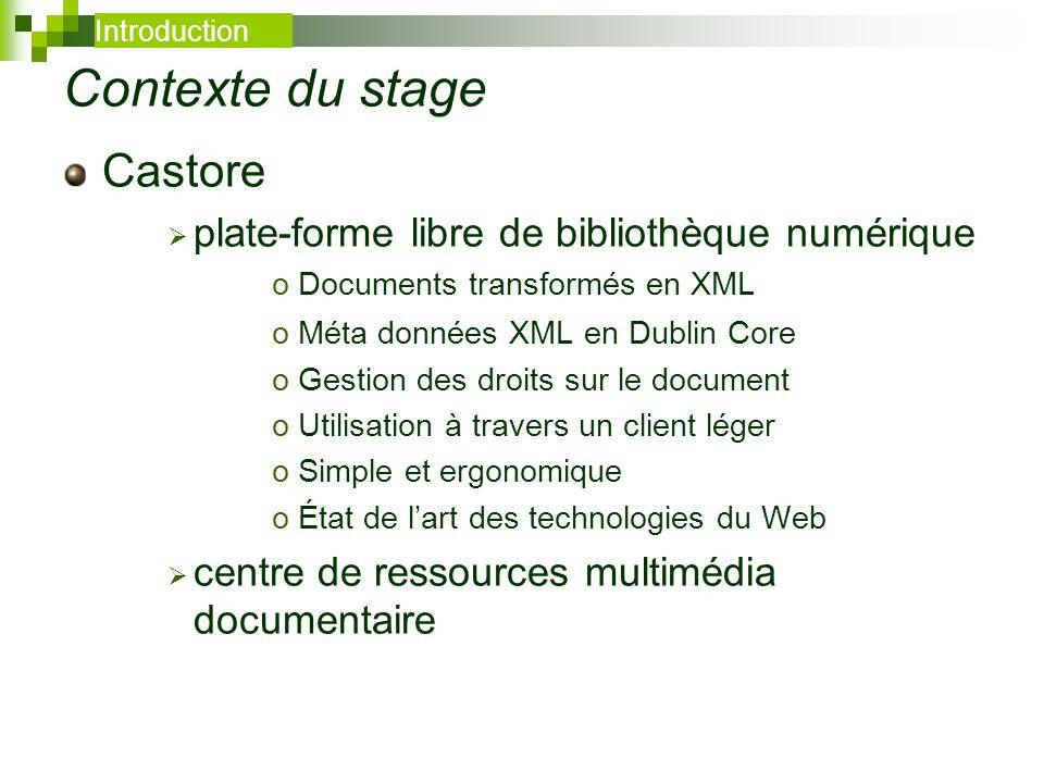Contexte du stage Castore plate-forme libre de bibliothèque numérique