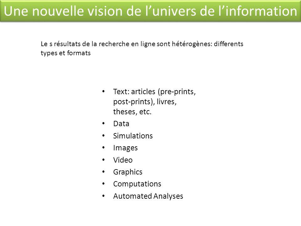 Une nouvelle vision de l'univers de l'information