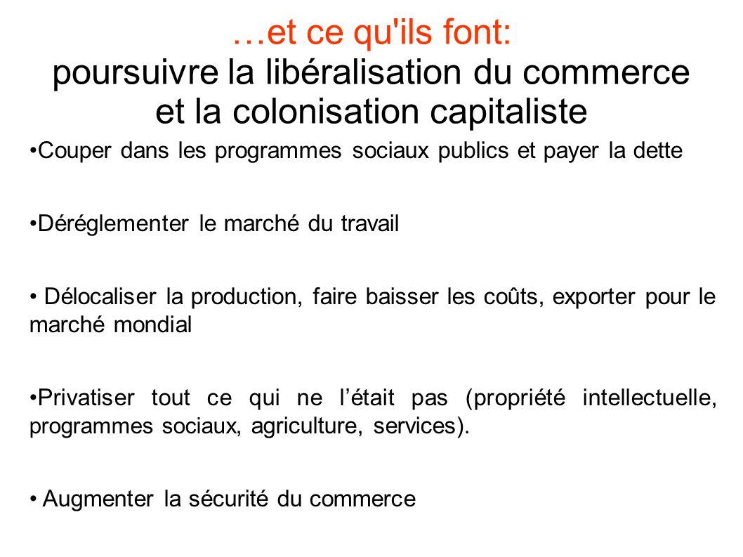 …et ce qu ils font: poursuivre la libéralisation du commerce et la colonisation capitaliste