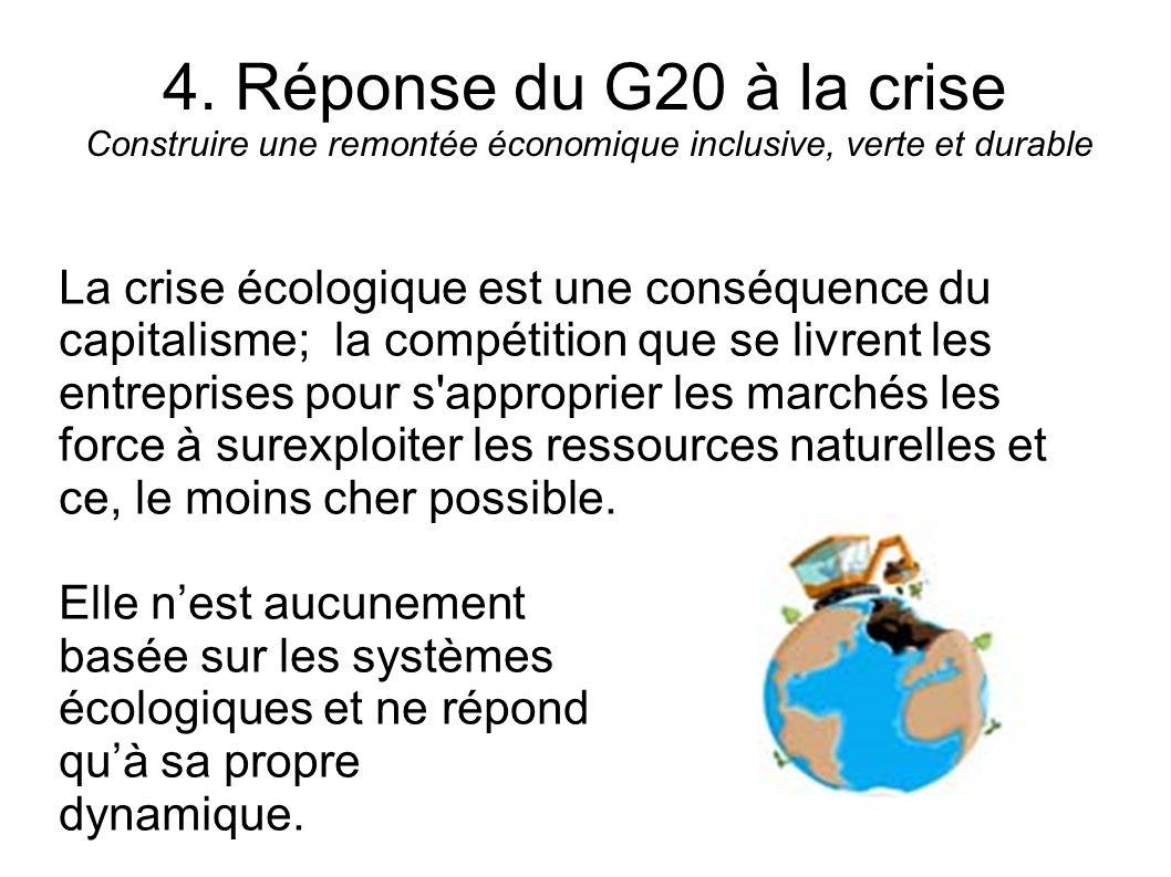 4. Réponse du G20 à la crise Construire une remontée économique inclusive, verte et durable