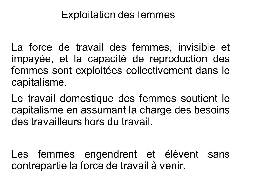 Exploitation des femmes La force de travail des femmes, invisible et impayée, et la capacité de reproduction des femmes sont exploitées collectivement dans le capitalisme.