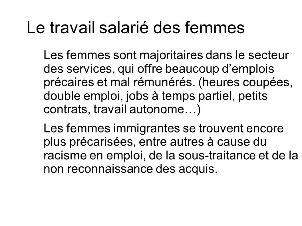 Le travail salarié des femmes