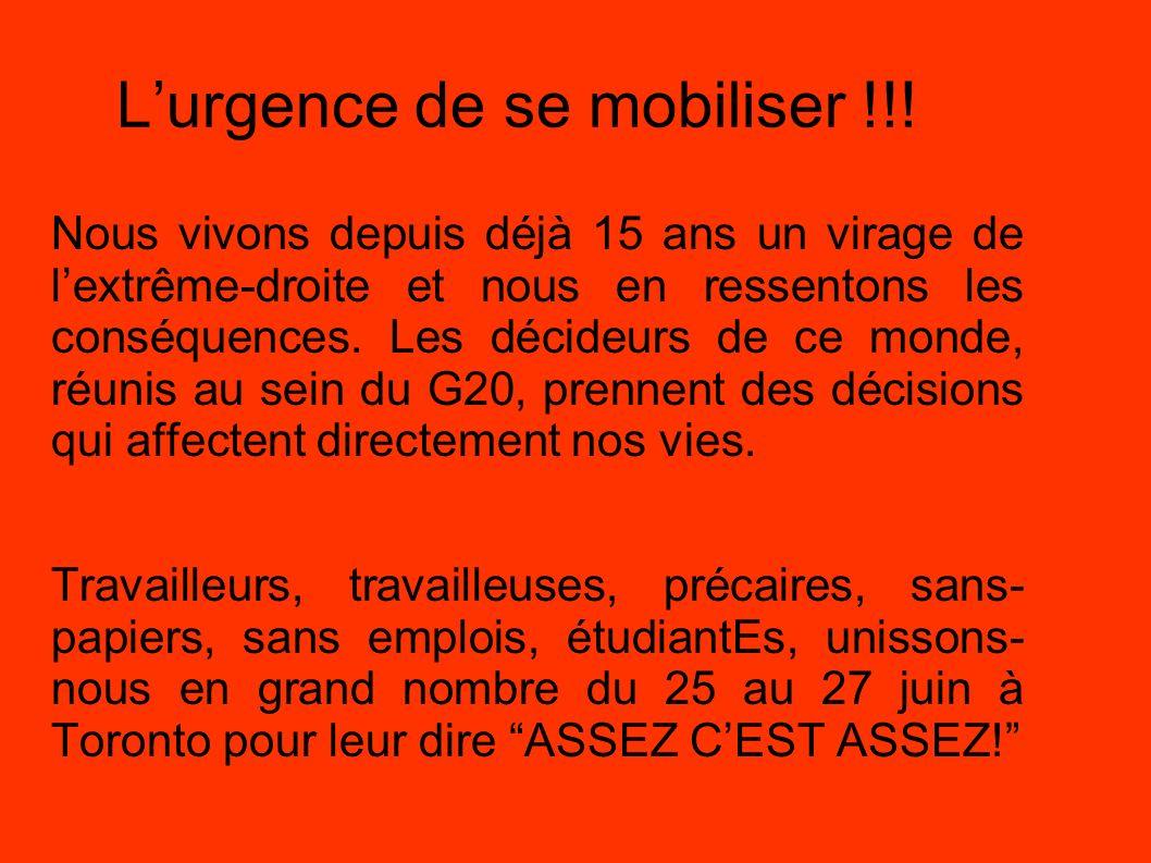 L'urgence de se mobiliser !!!