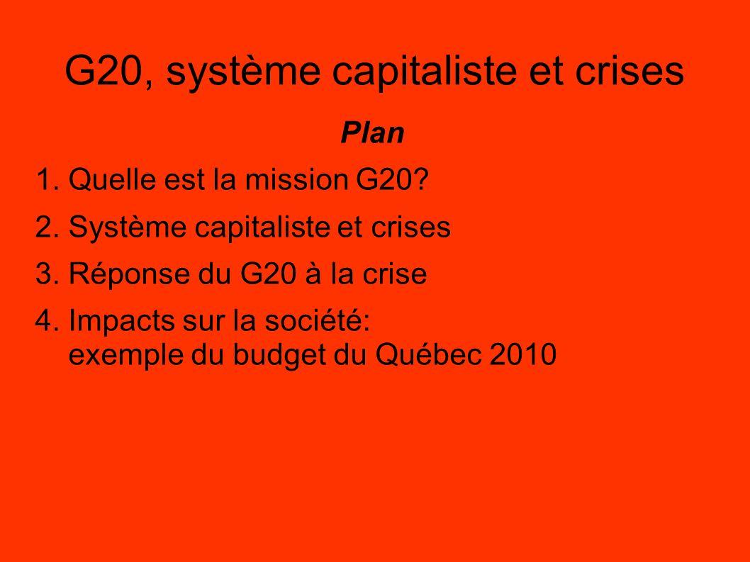G20, système capitaliste et crises