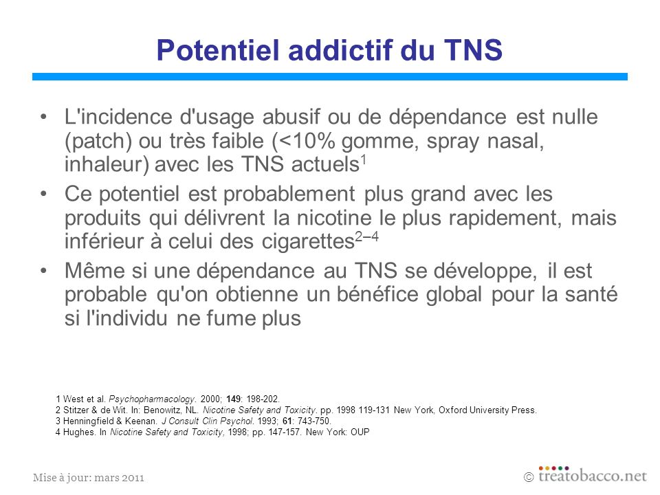 Potentiel addictif du TNS