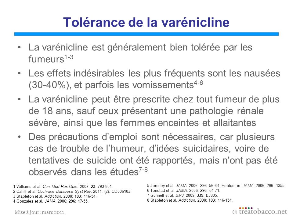 Tolérance de la varénicline