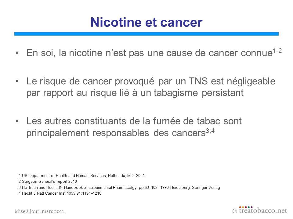 Nicotine et cancer En soi, la nicotine n'est pas une cause de cancer connue1-2.
