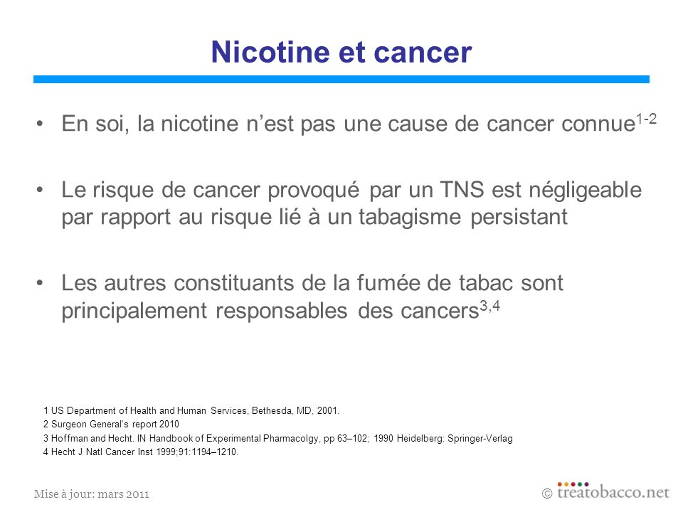 Nicotine et cancerEn soi, la nicotine n'est pas une cause de cancer connue1-2.