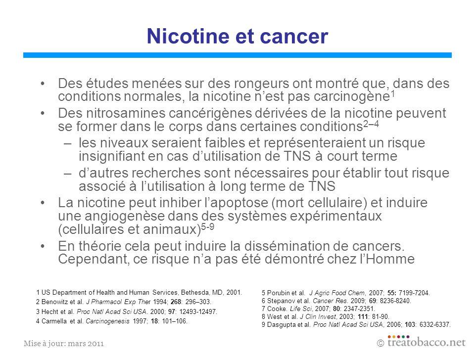 Nicotine et cancerDes études menées sur des rongeurs ont montré que, dans des conditions normales, la nicotine n'est pas carcinogène1.
