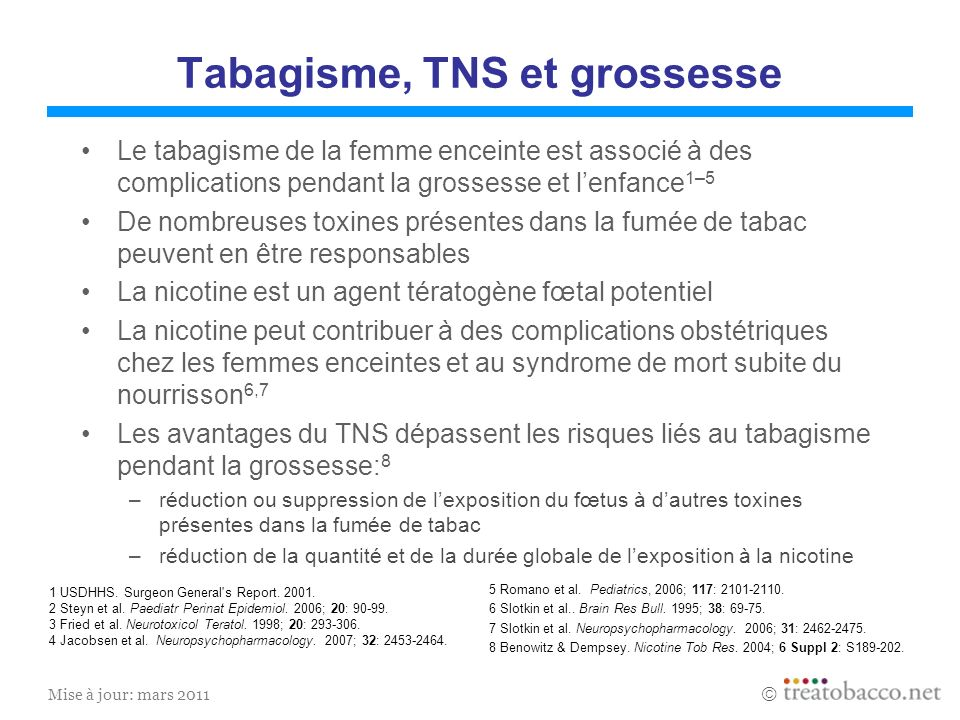 Tabagisme, TNS et grossesse
