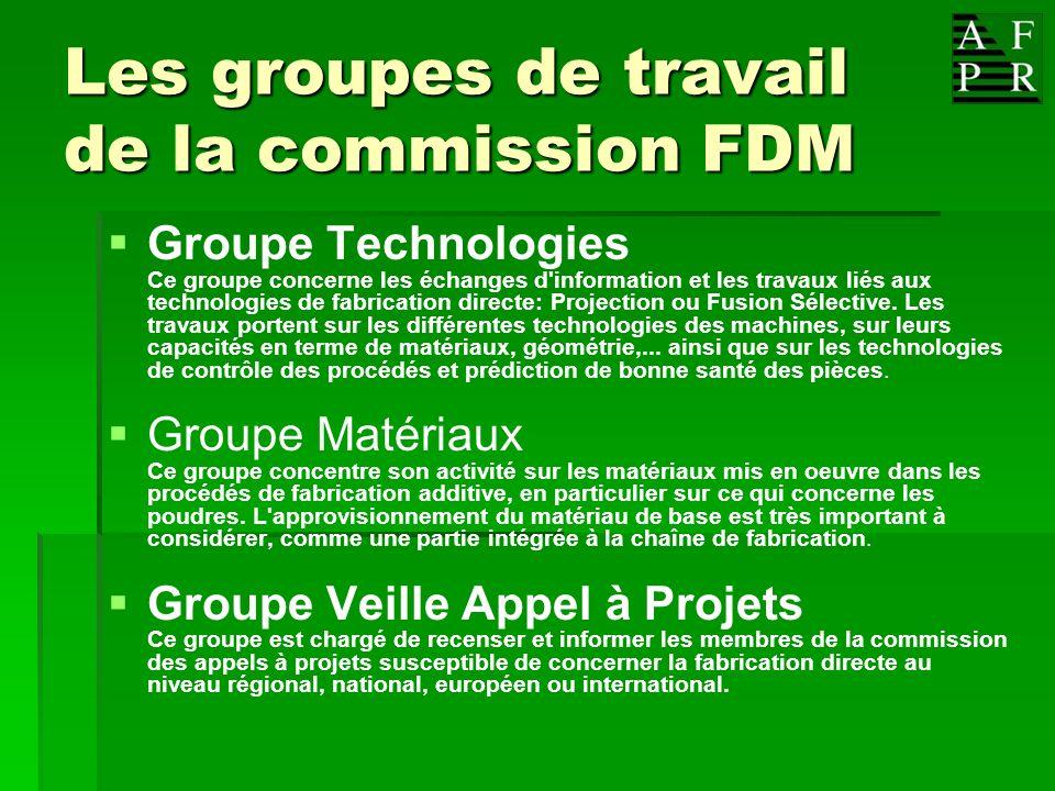 Les groupes de travail de la commission FDM