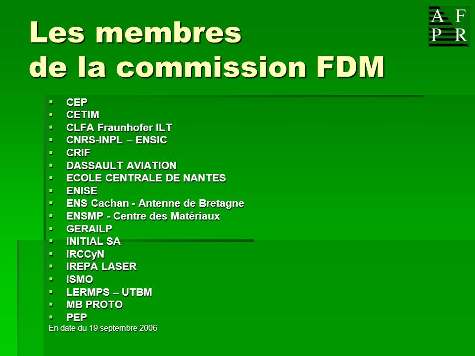 Les membres de la commission FDM