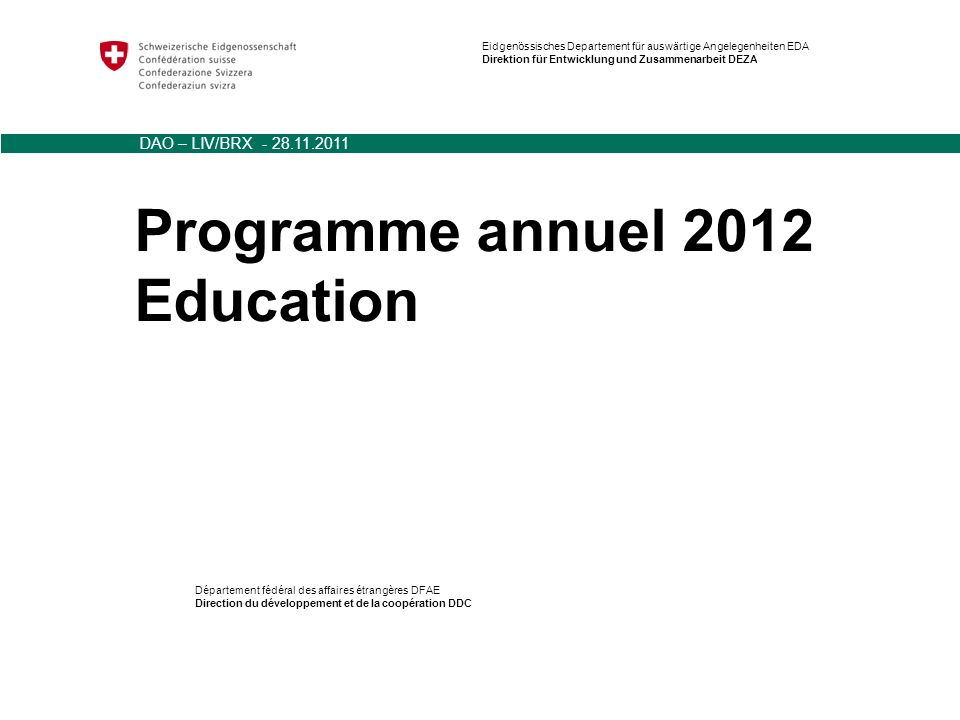 Programme annuel 2012 Education