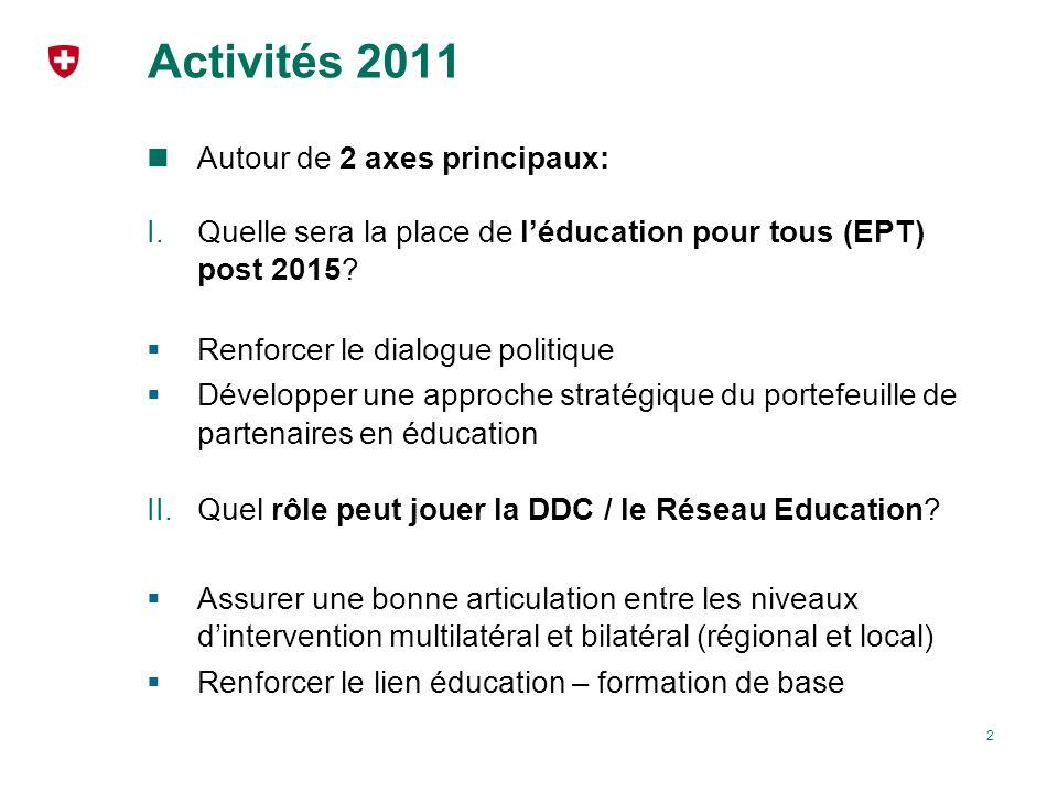 Activités 2011 Autour de 2 axes principaux: