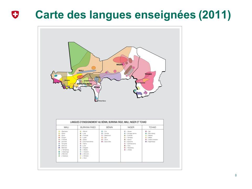 Carte des langues enseignées (2011)