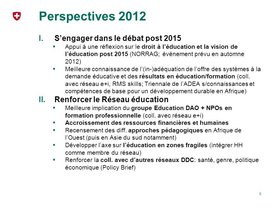 Perspectives 2012 S'engager dans le débat post 2015