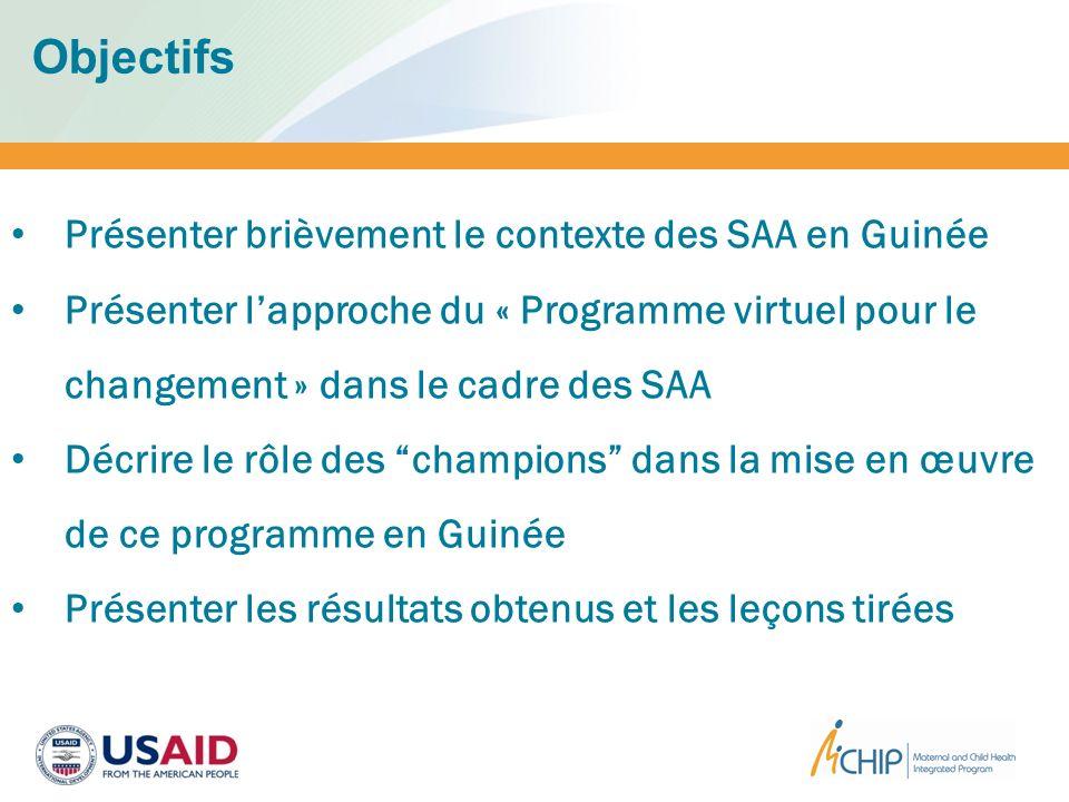 Objectifs Présenter brièvement le contexte des SAA en Guinée