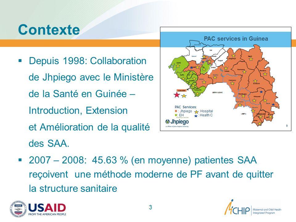 Contexte Depuis 1998: Collaboration de Jhpiego avec le Ministère