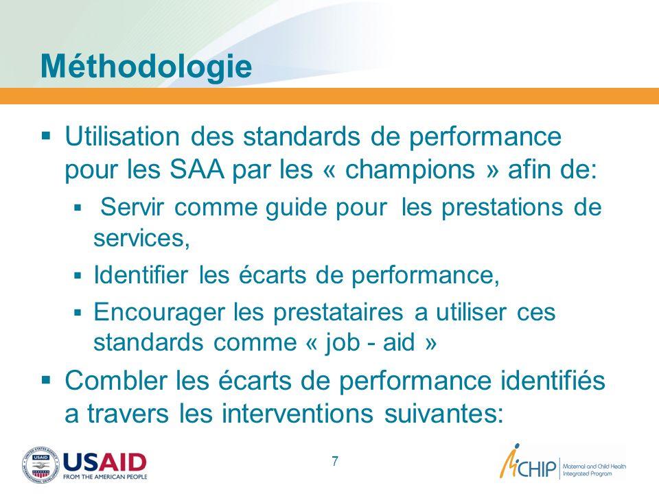 Méthodologie Utilisation des standards de performance pour les SAA par les « champions » afin de: