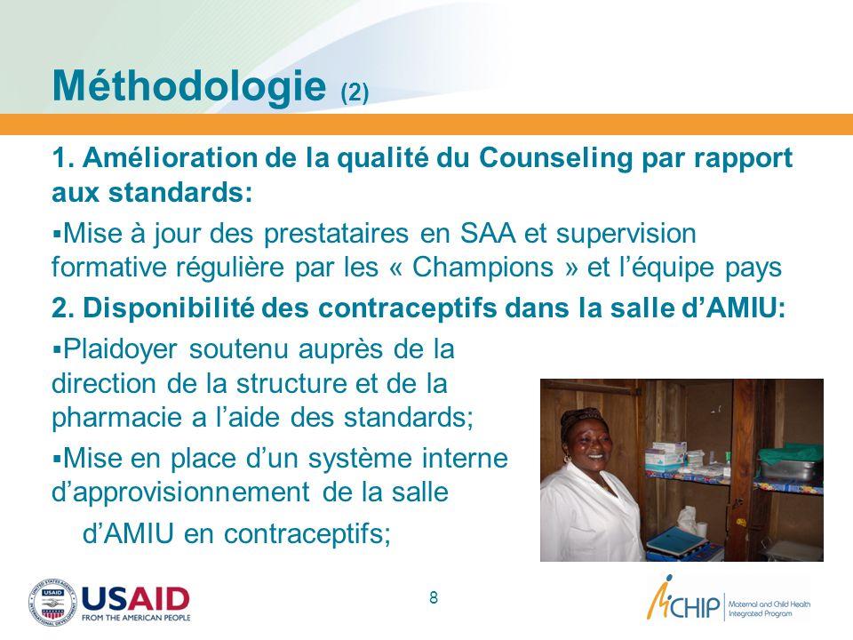 Méthodologie (2) 1. Amélioration de la qualité du Counseling par rapport aux standards: