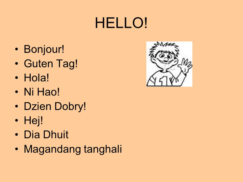 HELLO! Bonjour! Guten Tag! Hola! Ni Hao! Dzien Dobry! Hej! Dia Dhuit