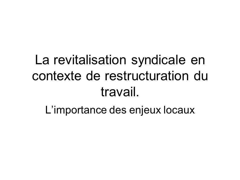La revitalisation syndicale en contexte de restructuration du travail.