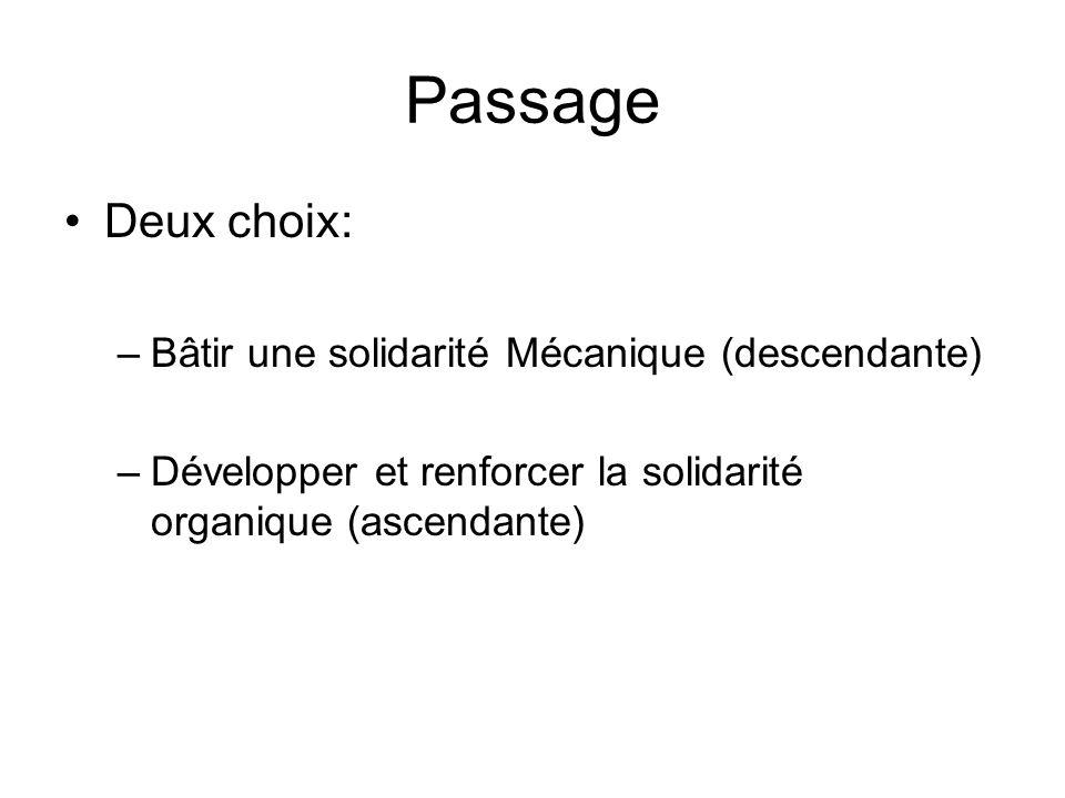 Passage Deux choix: Bâtir une solidarité Mécanique (descendante)
