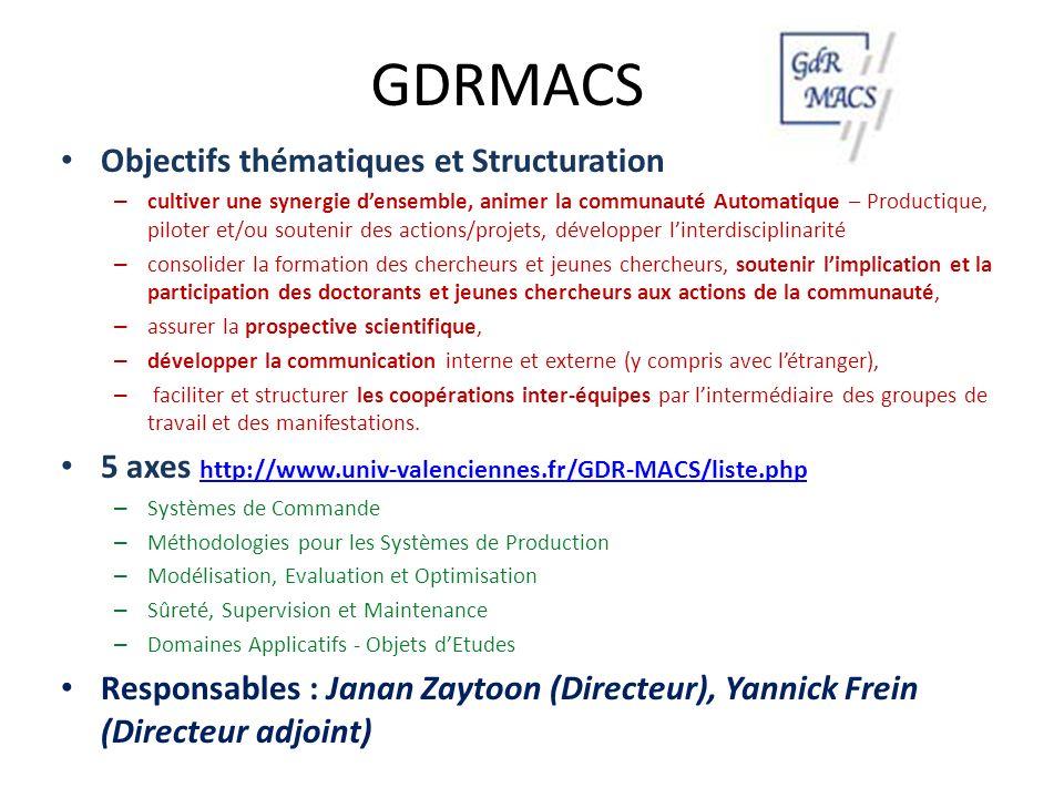 GDRMACS Objectifs thématiques et Structuration