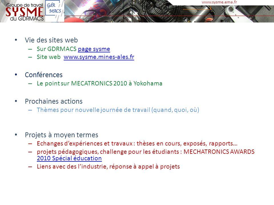 Vie des sites web Conférences Prochaines actions