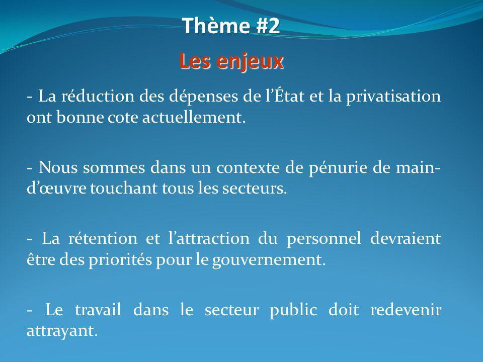 Thème #2 Les enjeux. - La réduction des dépenses de l'État et la privatisation ont bonne cote actuellement.