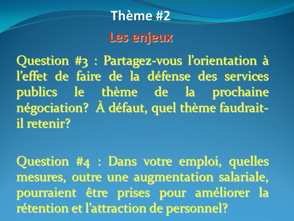 Thème #2 Les enjeux.