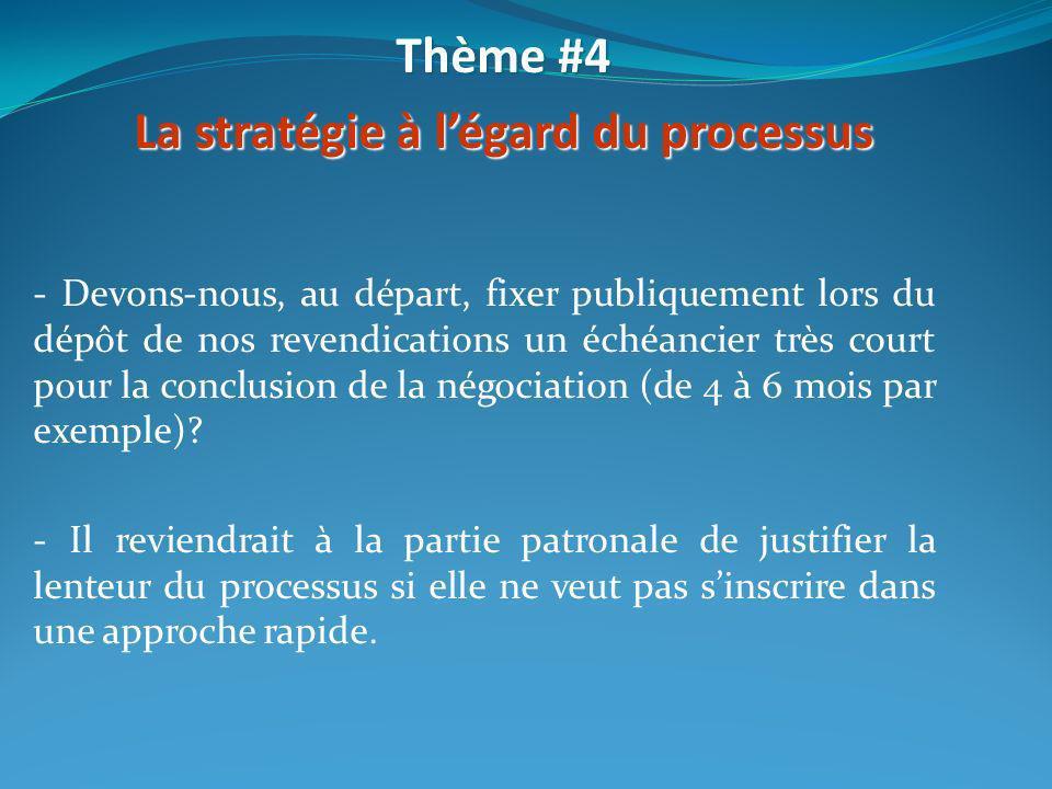 La stratégie à l'égard du processus