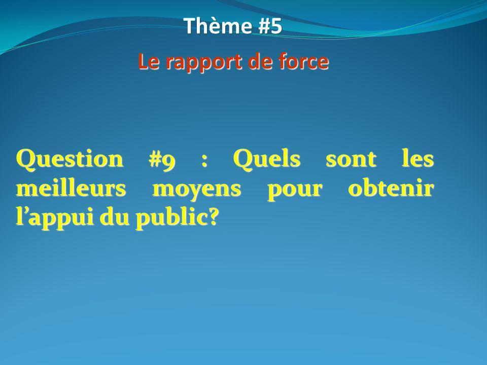 Thème #5Le rapport de force.