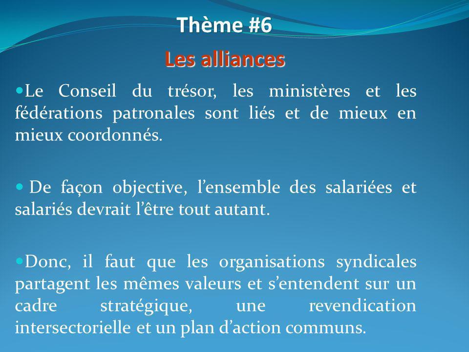 Thème #6 Les alliances. Le Conseil du trésor, les ministères et les fédérations patronales sont liés et de mieux en mieux coordonnés.