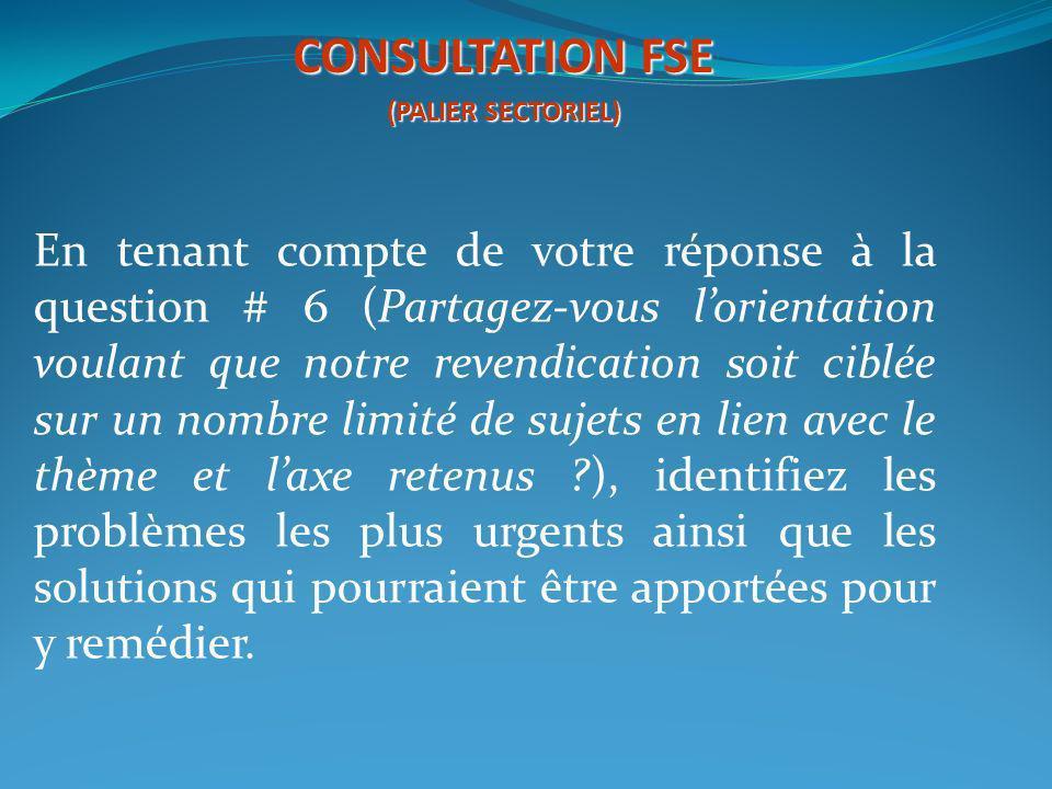 CONSULTATION FSE (PALIER SECTORIEL)