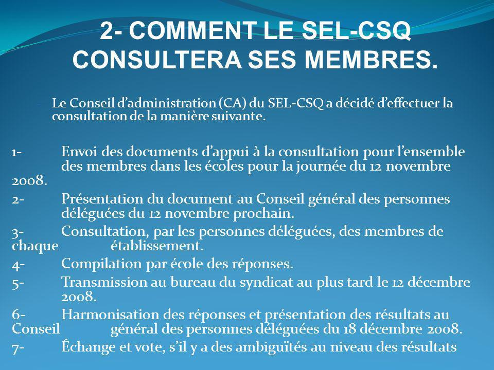 2- COMMENT LE SEL-CSQ CONSULTERA SES MEMBRES.
