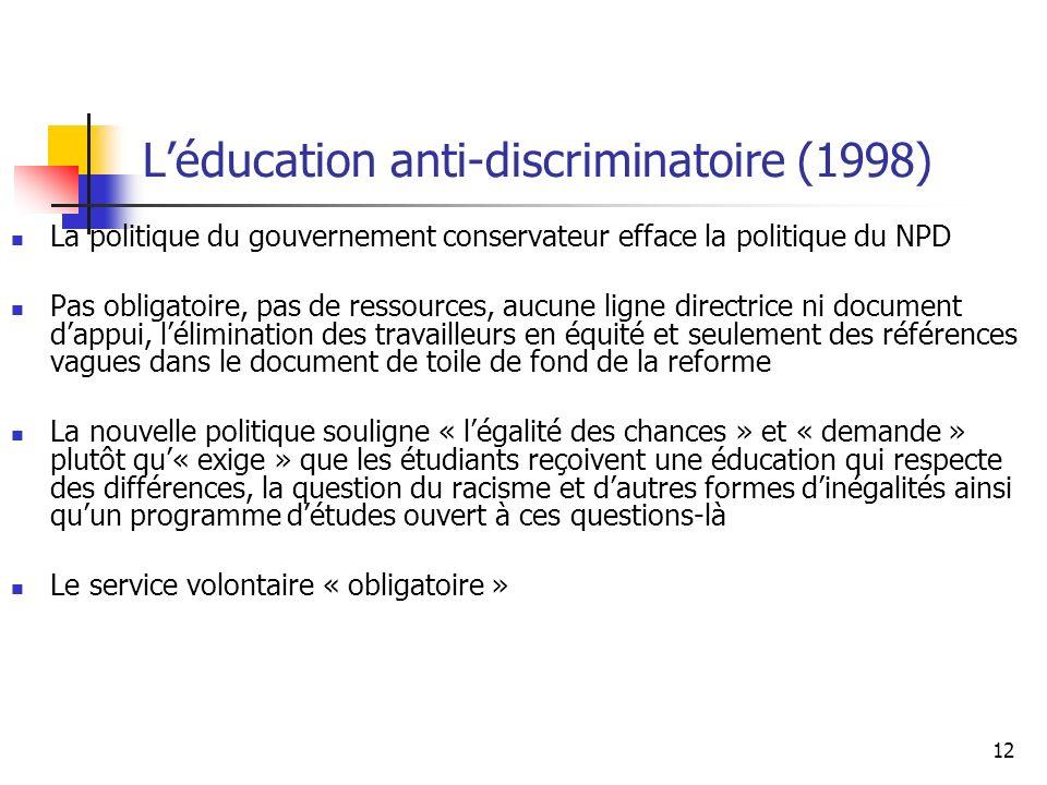 L'éducation anti-discriminatoire (1998)