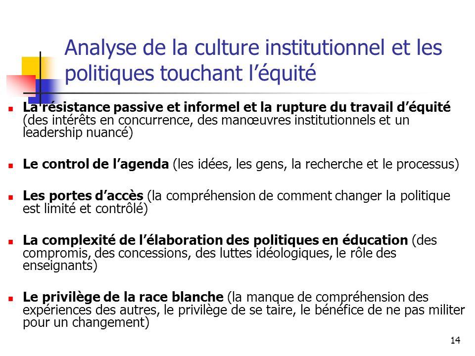Analyse de la culture institutionnel et les politiques touchant l'équité