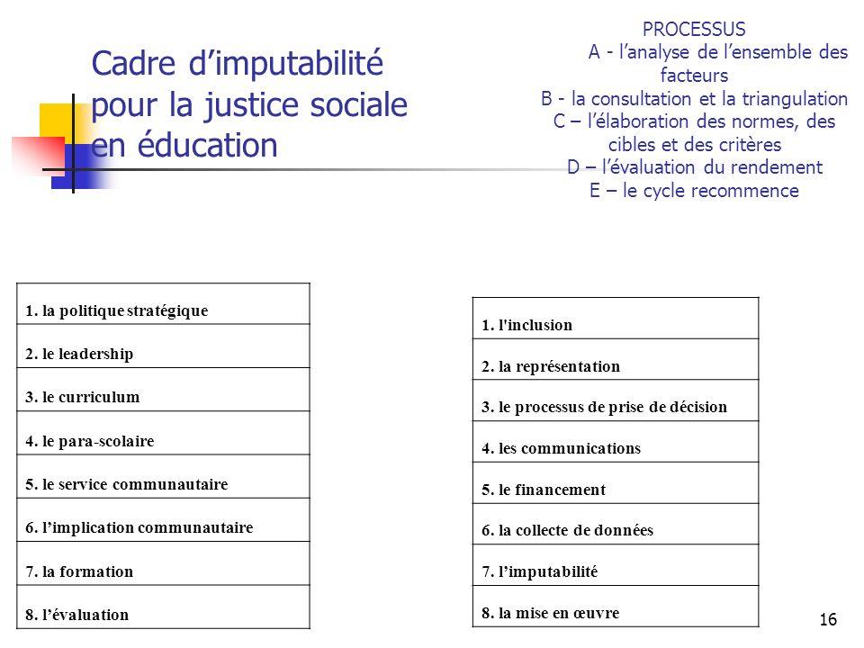 Cadre d'imputabilité pour la justice sociale en éducation