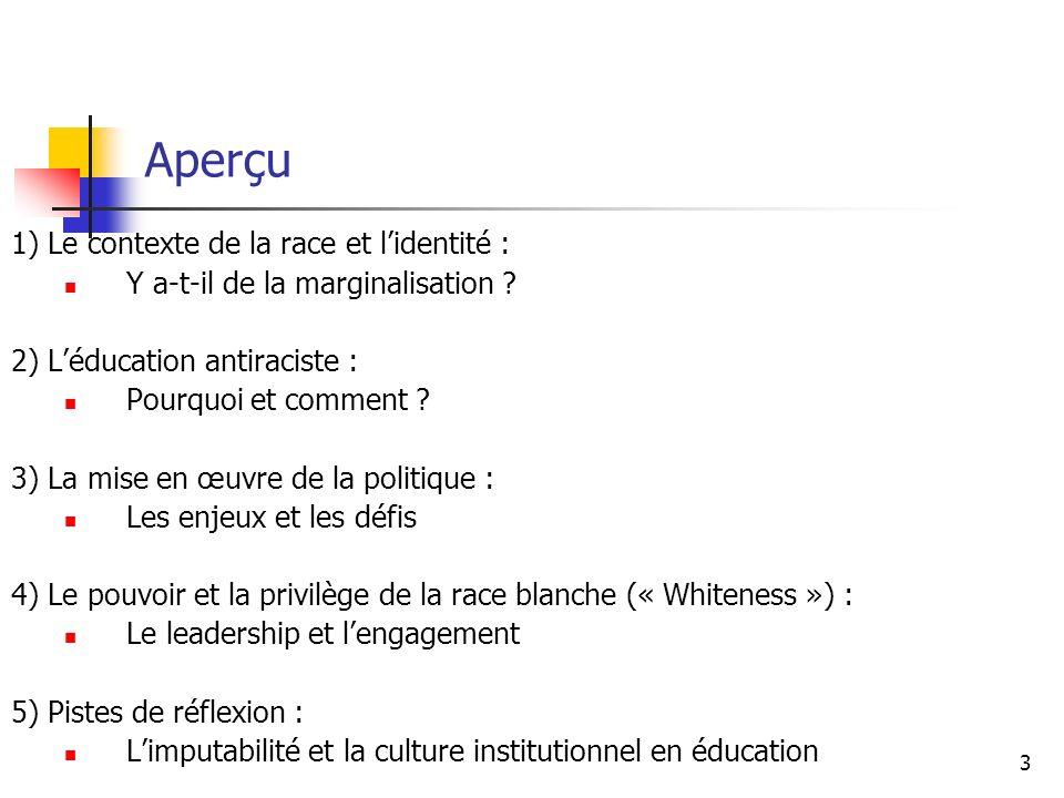 Aperçu 1) Le contexte de la race et l'identité :