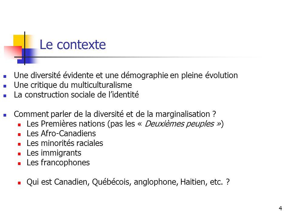 Le contexte Une diversité évidente et une démographie en pleine évolution. Une critique du multiculturalisme.