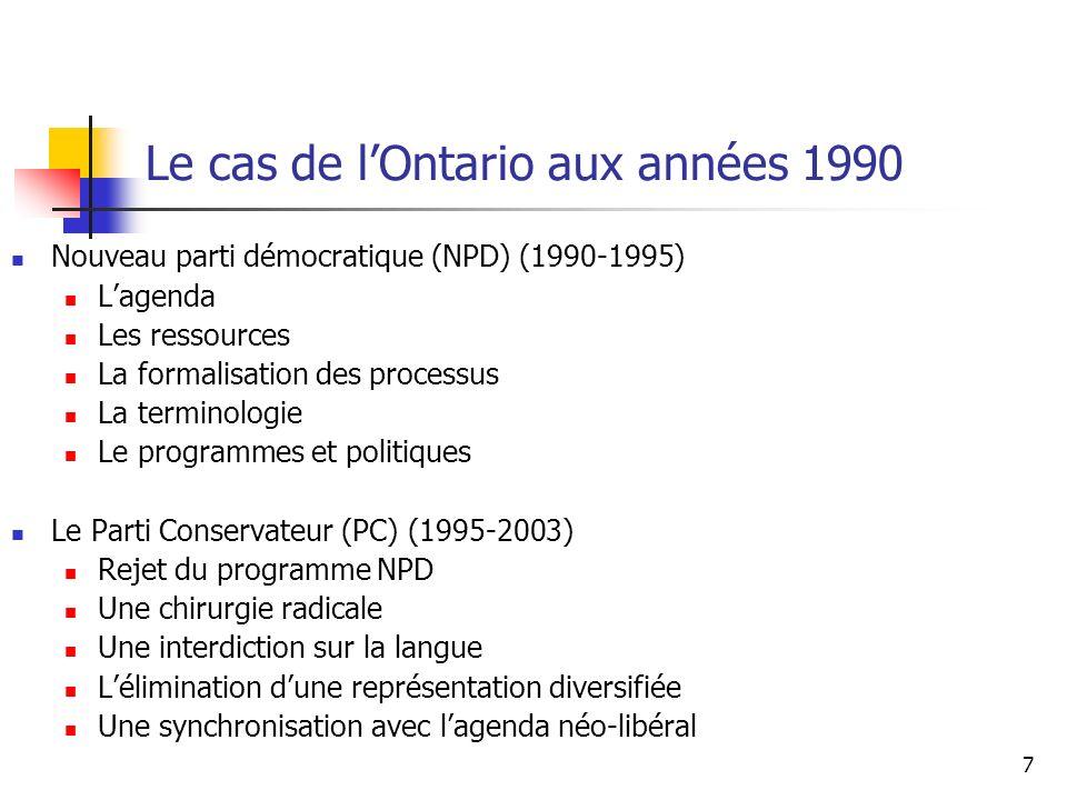 Le cas de l'Ontario aux années 1990